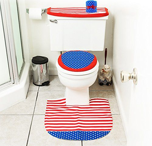 Usa Patriotic Home Decor Bathroom Holiday Decor Bathroom Decor Sets Blue Bath Rug 4th of july bathroom decor