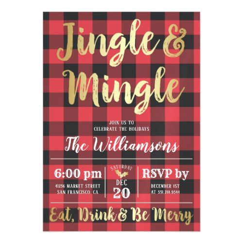 Buffalo Plaid & Gold Jingle & Mingle Holiday Party Magnetic Card