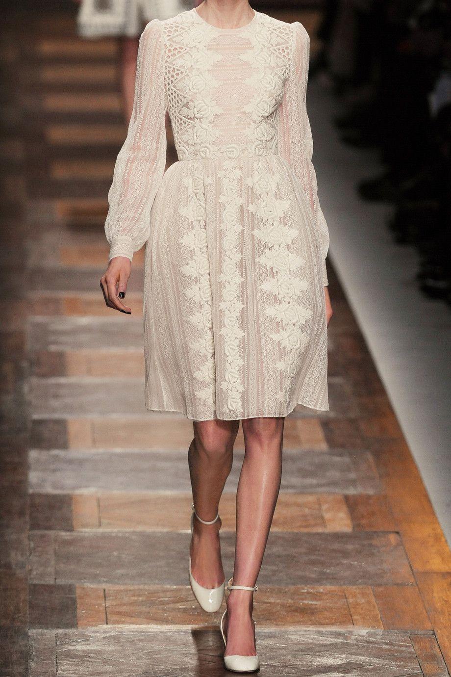 Valentino Woman Embellished Chantilly Lace Silk Mini Dress White Size 38 Valentino BptPoAKVD