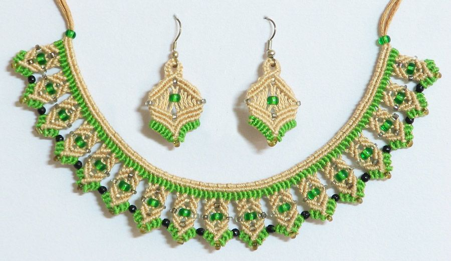 Beige with Green Macrame Necklace and Earrings with Green Beads (Thread)