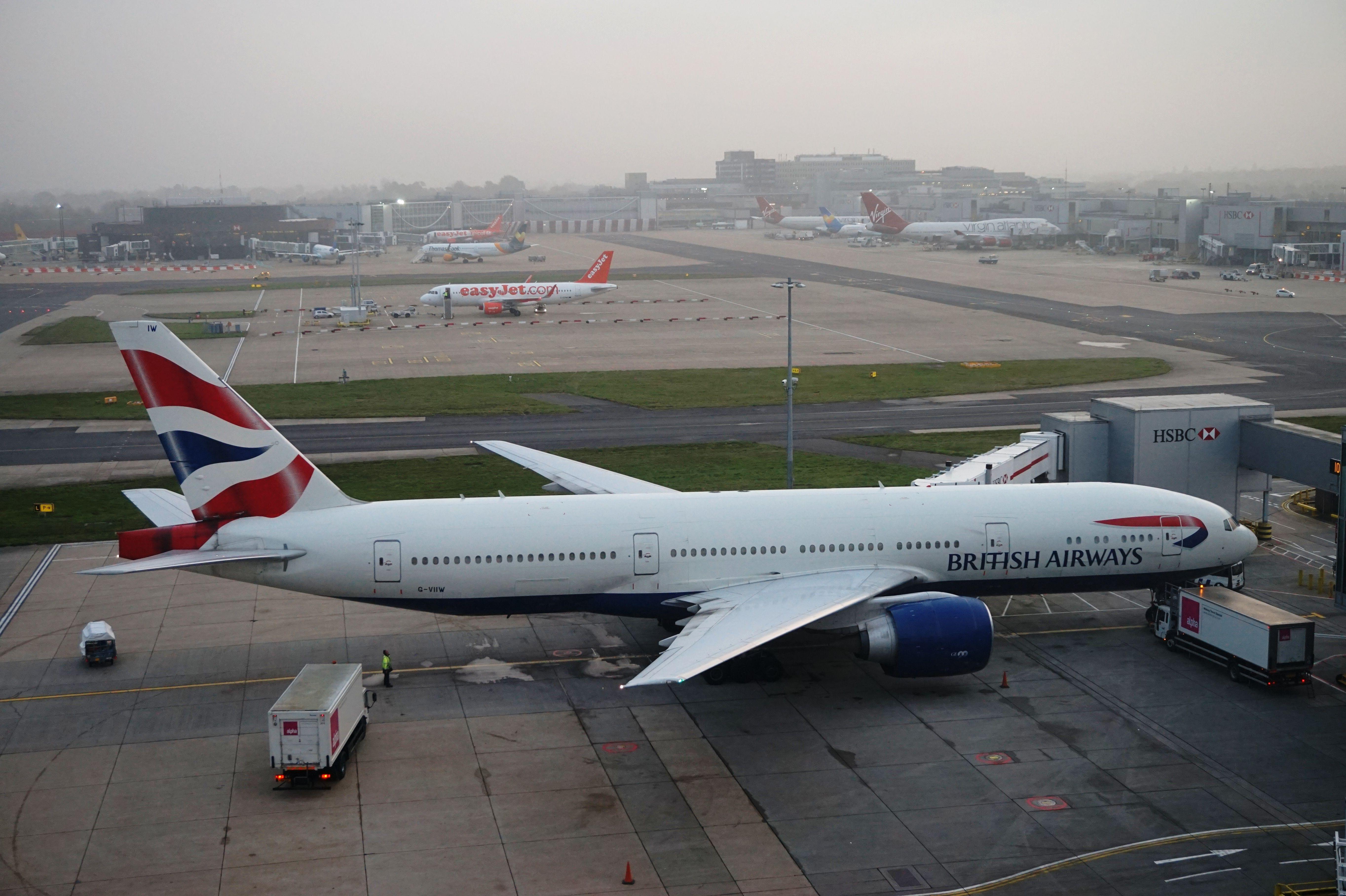 British Airways B777 At London Gatwick Airport British Airways