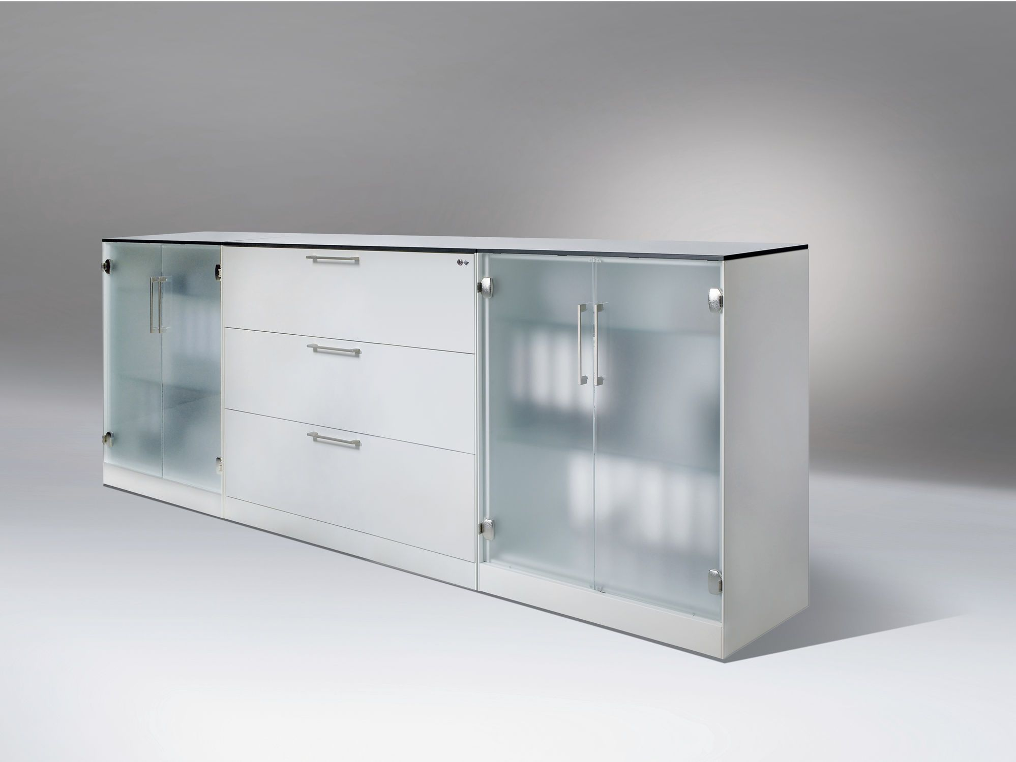 Great Frosted Glass Doors With Three Drawers Low Bookcase As Inspiring Minimalist Book Storage Cabinets In Modern Interior Decors