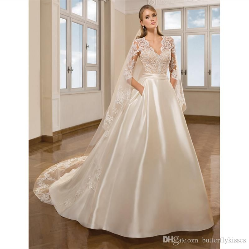Elegant Ivory Satin A Line Wedding Dresses 2019 Simple