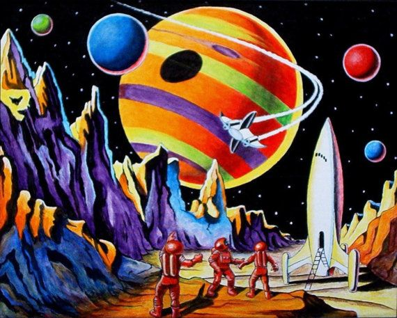 11 x 14 retro space explorers art print from by for Retro outer space