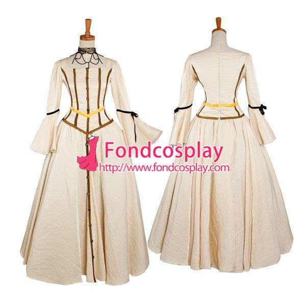 送料無料ベージュ ローズレッドゴシックパンクドレス中世の