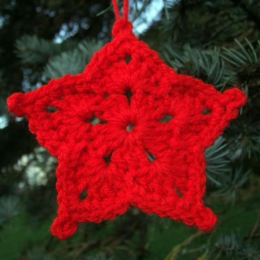 Stelle di Natale all'uncinetto - Stella di Natale rossa all'uncinetto