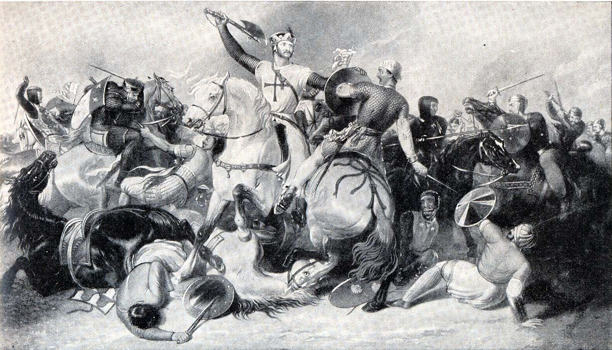 King Richard I, Lionheart, of England swinging a battle ...