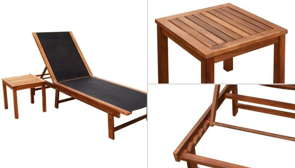 Outdoor Wooden Sunbed Garden Sun Lounger Set Square Table Pool