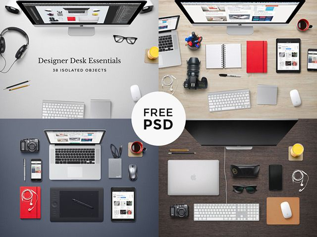 Here is a set of desk mockups that you can use to create custom hero images for your portfolio page. Free PSD by Raul Taciu.