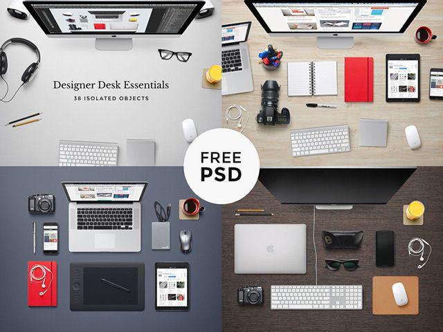 Designer Desk Essentials Psd Freebiesbug Desk Essentials Desk Design Design