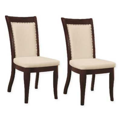 Fairhaven Faux Leather Dining Chairs In White Dark Brown Set Of 2