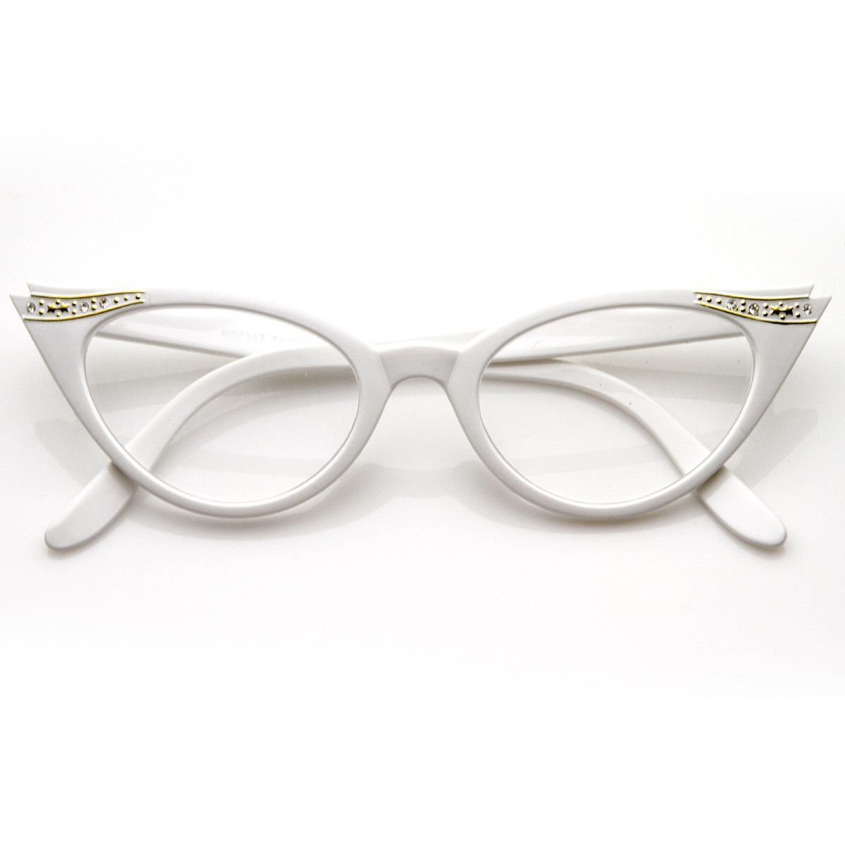 715d63dd42c4 Vintage Cateyes 80s Inspired Fashion Clear Lens Cat Eye Glasses with  Rhinestones