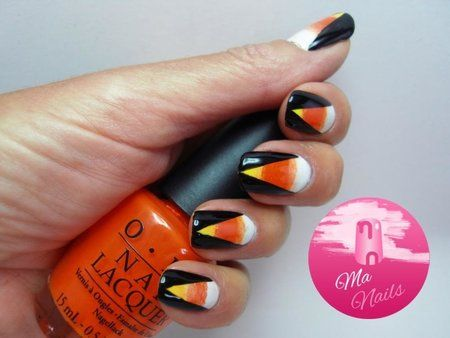 Halloween Candy Corn Gradient Nails | Halloween nails ...