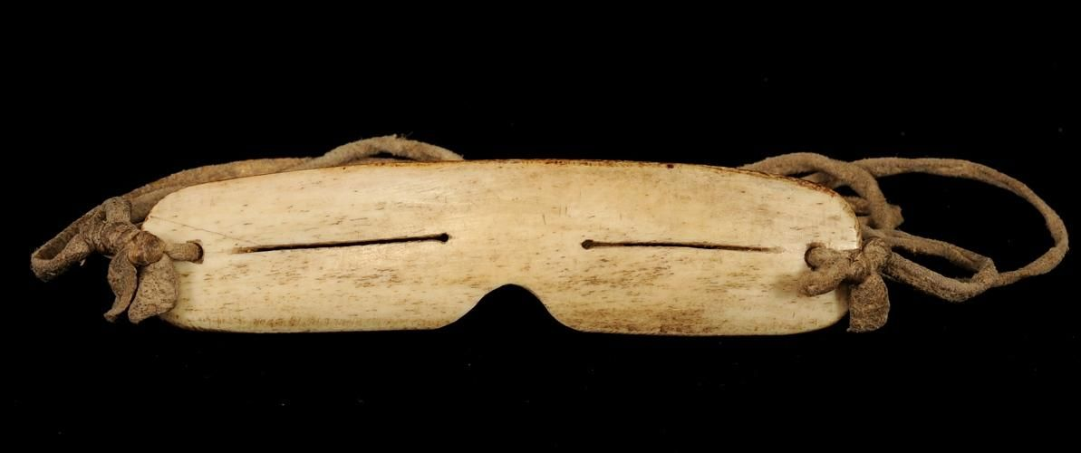 "Inuit Snow Goggles - Carved Bone 5"" W. 1 1/4"" H. Fine Condition ..."