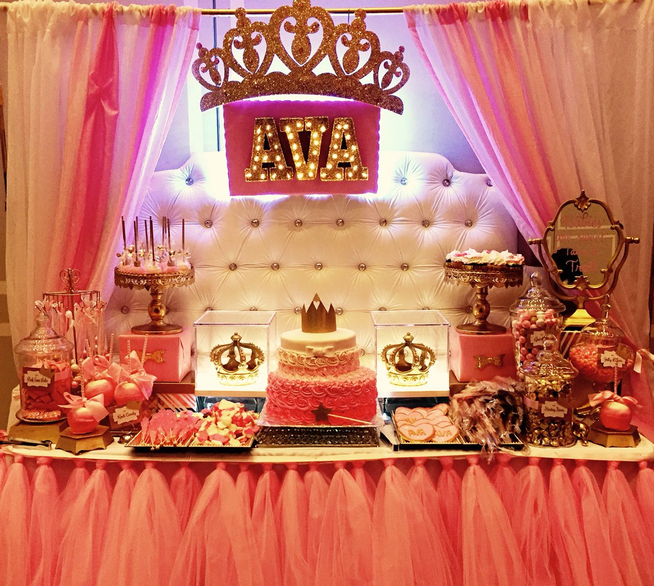 wedding shower candy buffet ideas%0A Princess theme baby shower candy dessert table styled by Glam Candy Buffets