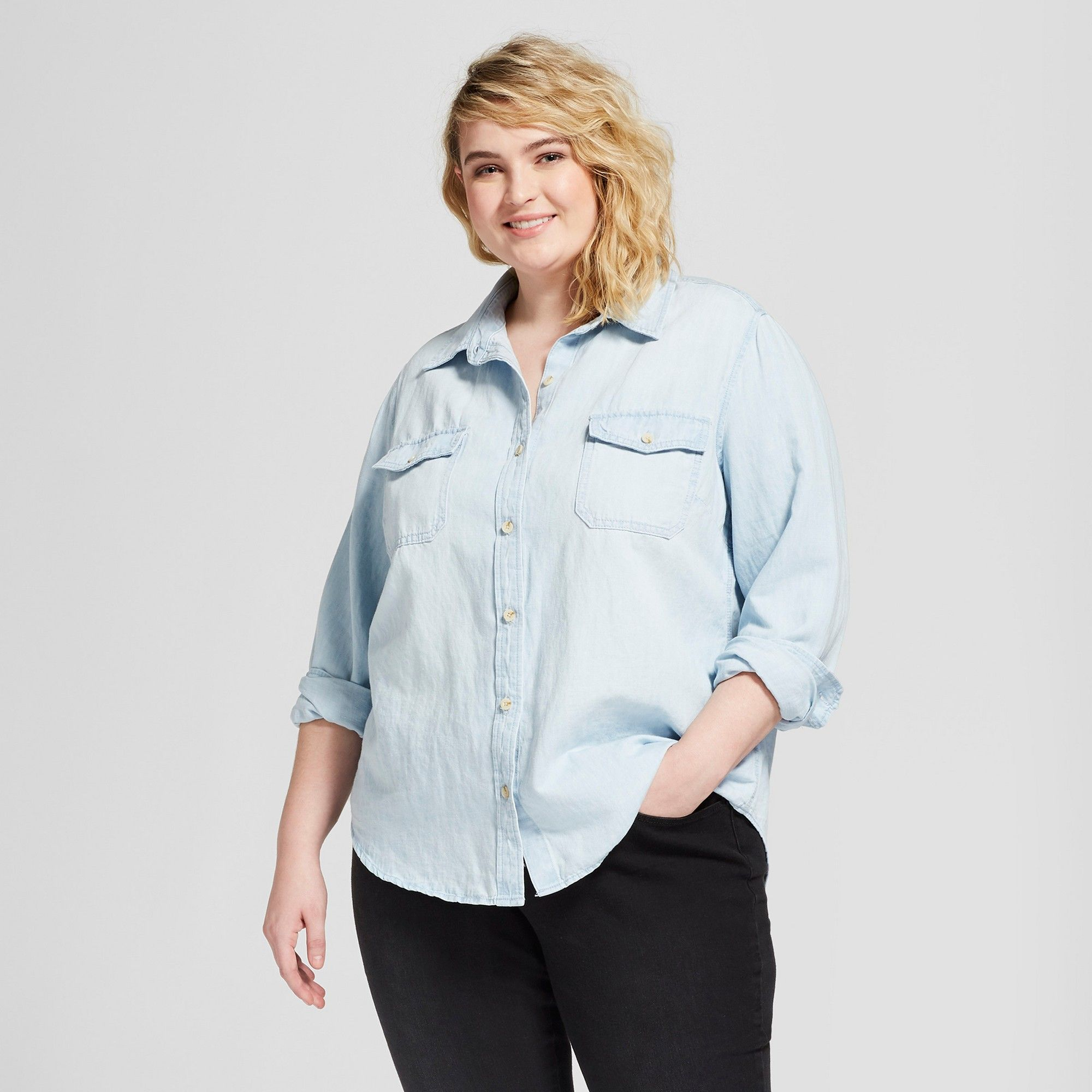 4bb47bf435 Women s Plus Size Labette Denim Shirt - Universal Thread Light Wash ...