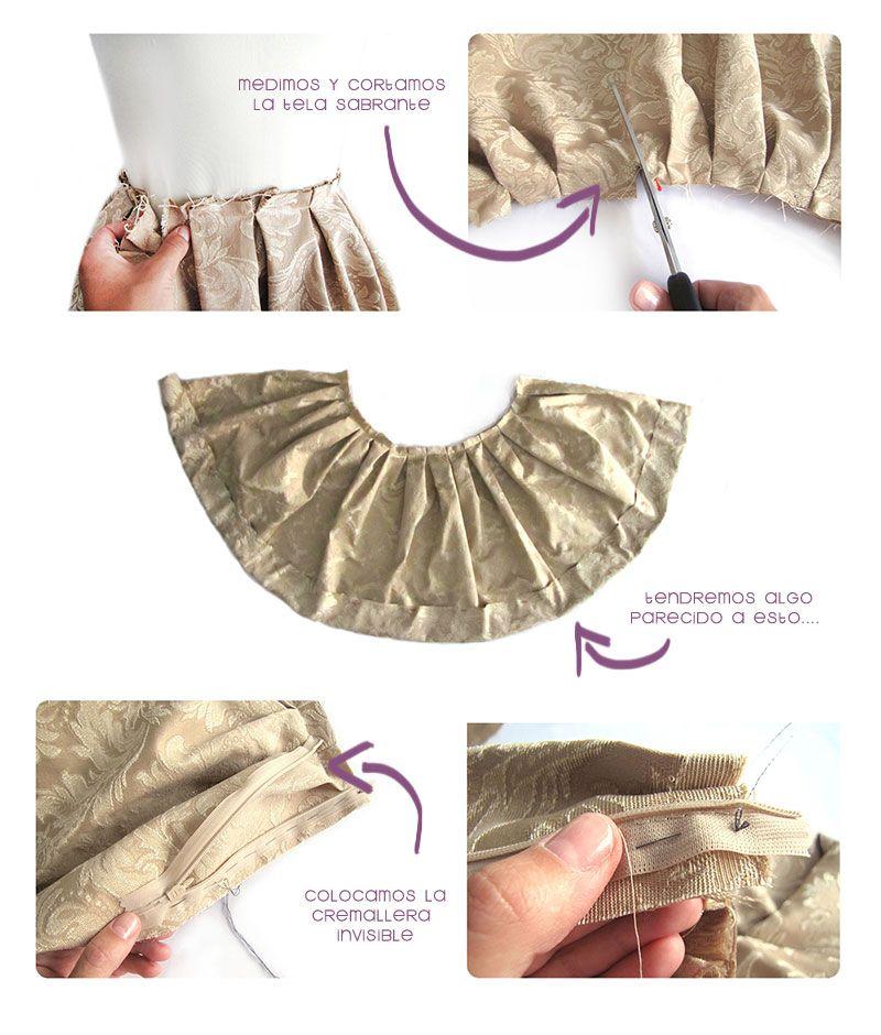 Cómo hacer una falda brocada sin patrón | telas | Pinterest | Como ...