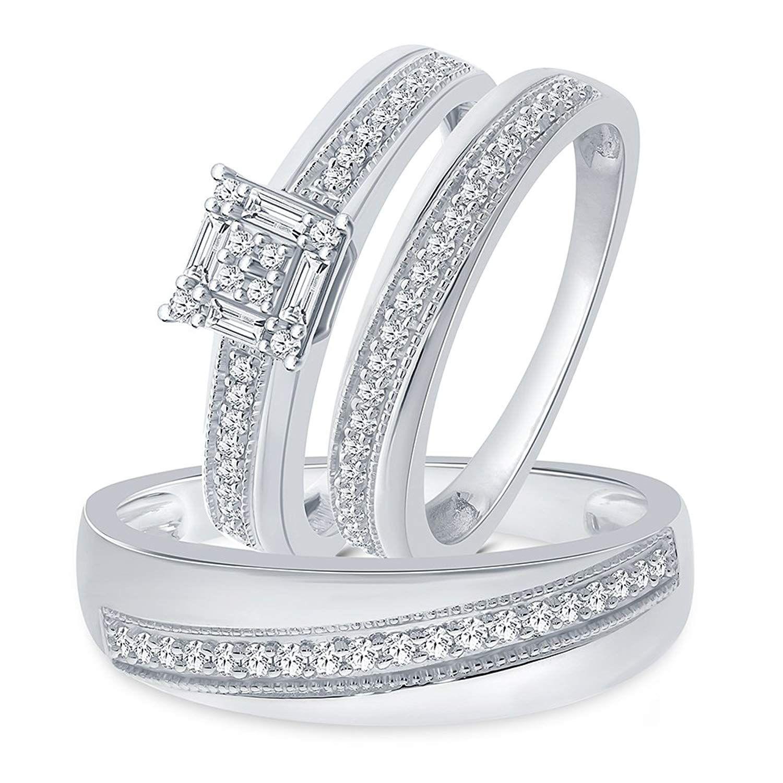 La Joya 1/2ct Tw Trio Simulated Diamond Sterling Silver