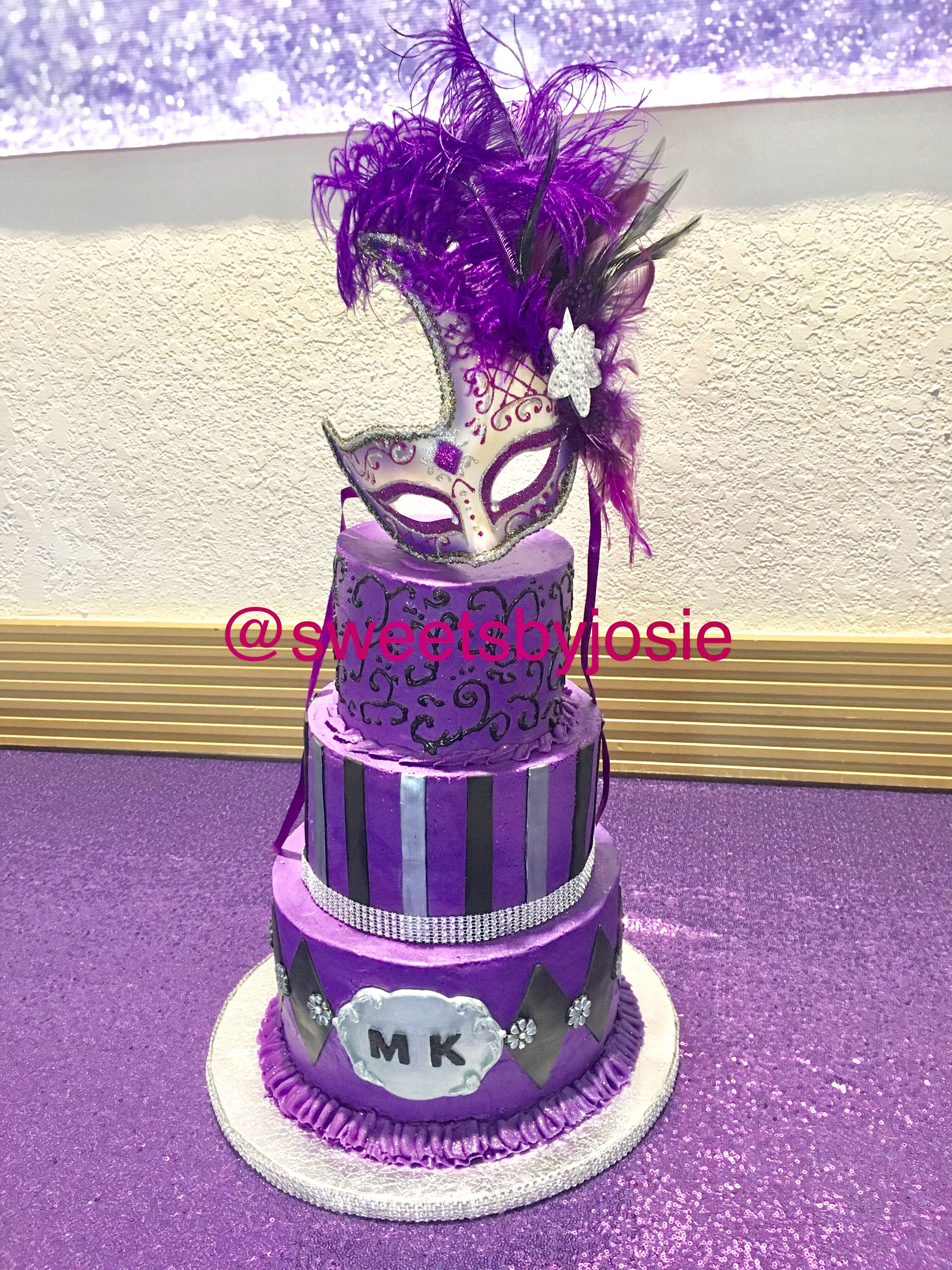 Purple black and silver Masquerade themed Sweet 16th birthday cake