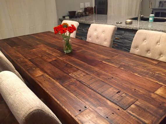 Custom reclaimed wood farm dining table walnut - farmhouse harvest ...