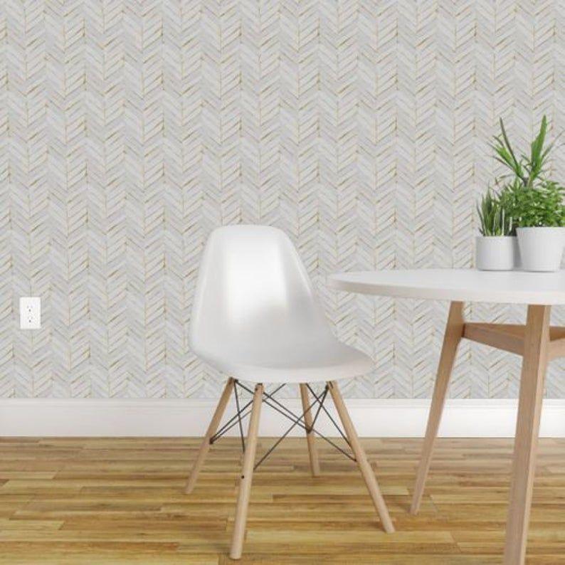 Chevron Wallpaper Chevron Painted White Gold By Crystal Etsy Chevron Wallpaper Herringbone Wallpaper Self Adhesive Wallpaper
