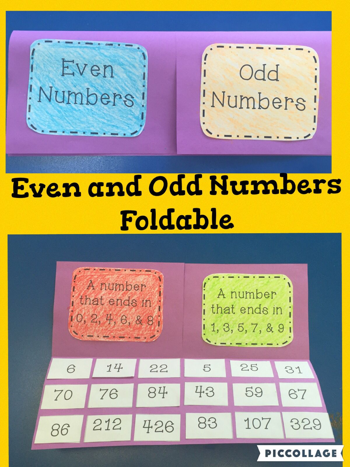 Even and Odd Numbers Foldable and Activities | 2crazyteachers TPT ...