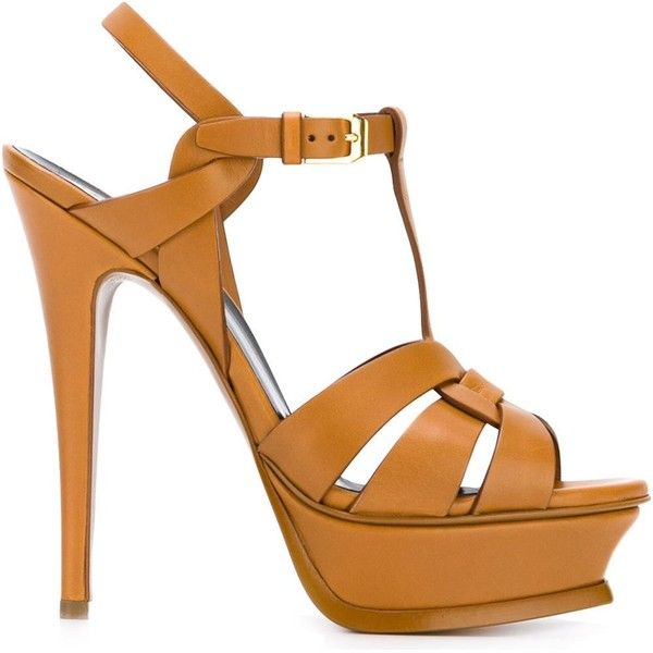 Saint Laurent 'Tribute' sandals (2,725 PEN) ❤ liked on Polyvore featuring shoes, sandals, platform shoes, leather platform sandals, woven sandals, ankle strap sandals and leather ankle strap sandals