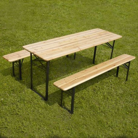 Table Et 2 Bancs Pliants Bois 180cm 6 8 Places Inspiration Salon