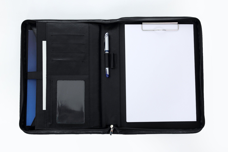 Leather folder Black leather portfolio Business padfolio Business ...