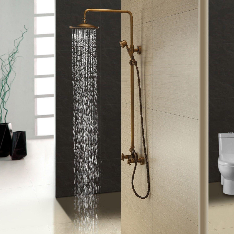Classic Exposed Antique Brass Two Handle Round Rainshower Handshower Shower Set Solid Brass Shower Faucet Sets Bathroom Shower Faucets Brass Shower Head [ 1500 x 1500 Pixel ]