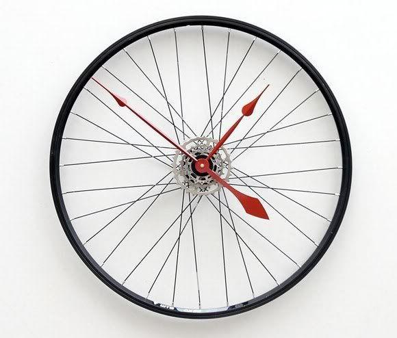 537bea27b0a Relógio em forma de Roda de Bicicleta. Bem original!