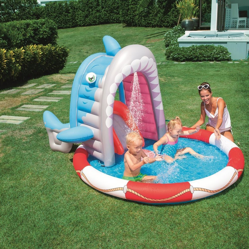 Inflatable Swimming Pool Blow Up Play Shark Sprayer Sprinkler Baby Toddler Kids Bestway Kids Inflatable Swimming Pool Inflatable Pool Pool Time Fun