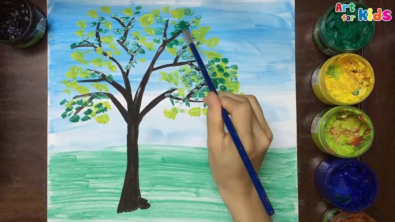 How To Draw Tree For Kids Landscape Painting For Children Art For Kids Landscape Drawing For Kids Nature Paintings Landscape Drawings