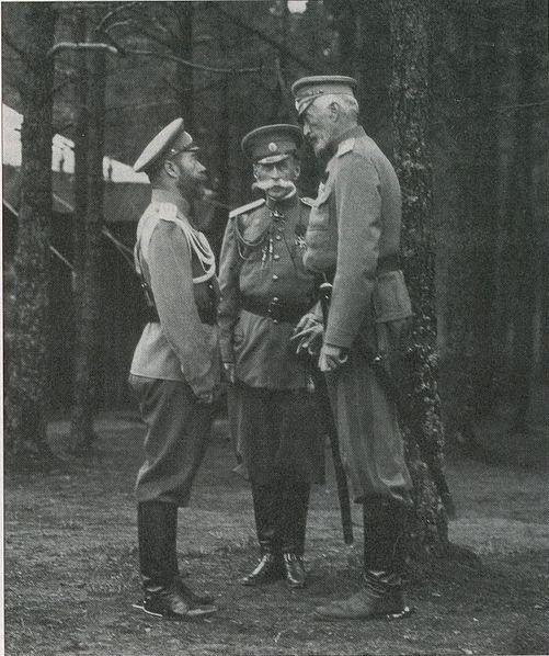 Tsar Nicholas II, Count Vladimir Fredericks, and Grand Duke Nicholas Nicholayevich in 1914.