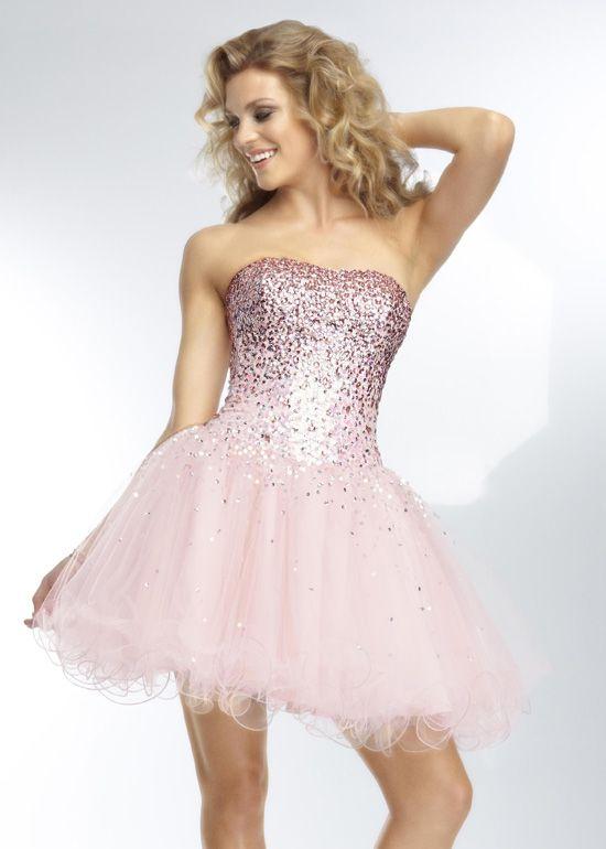 2817fe1592 Mori Lee 9253 - Blush Strapless Ombre Beaded Short Prom Dresses Online