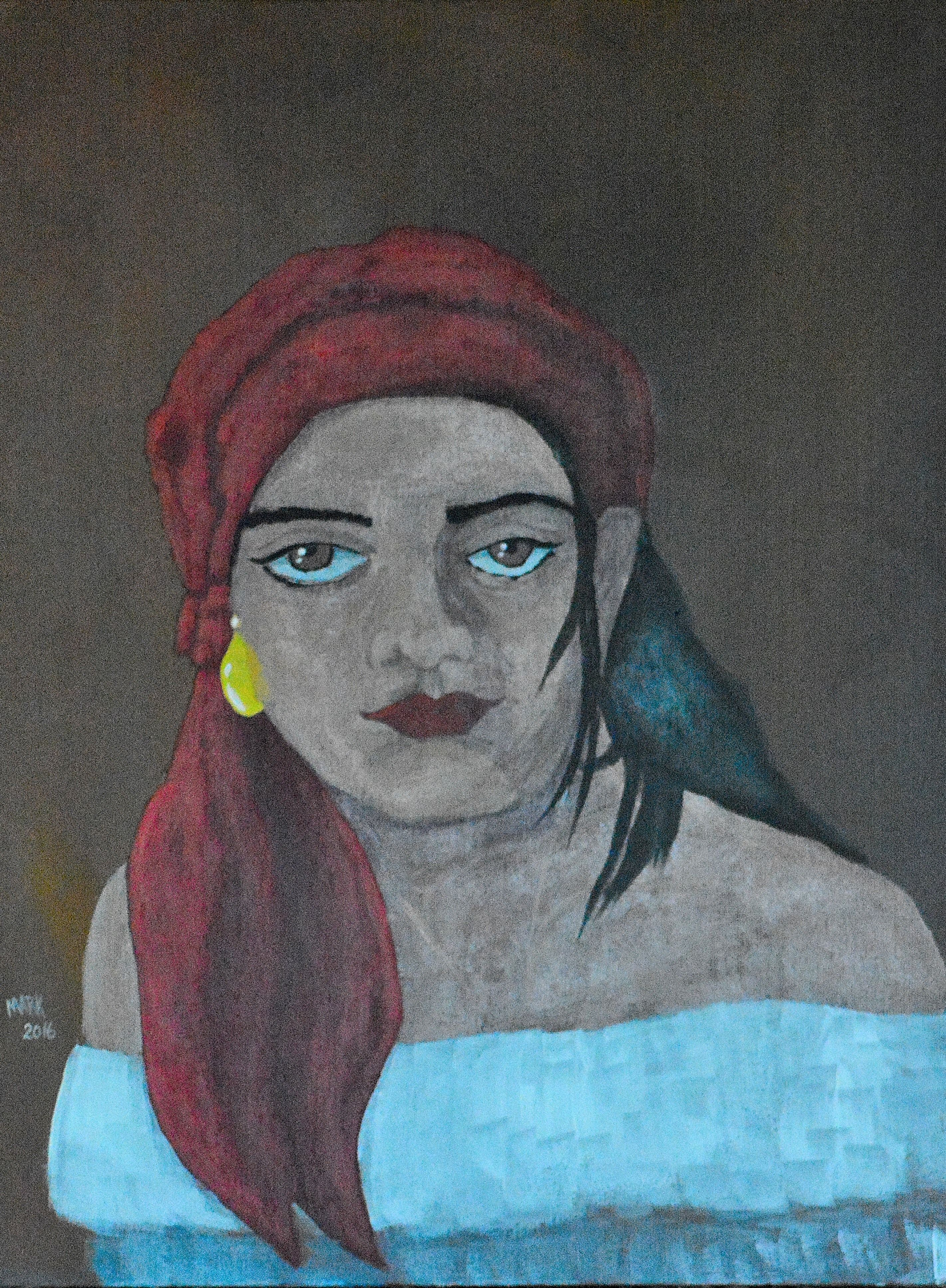 Gypsy Girl 12x16 canvas acrylic