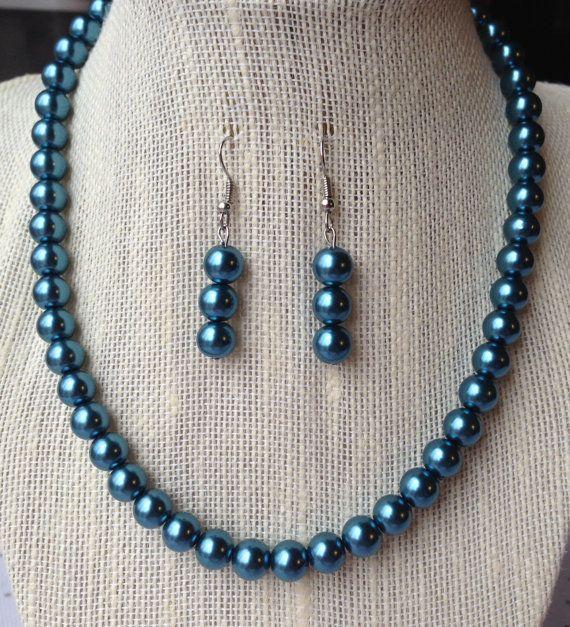 Blue Pearl Necklace Blue Wedding Bridesmaid by CherishedJewelryCo, $24.00