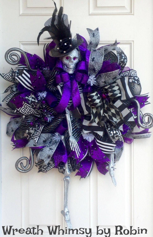 Xl Halloween Skeleton Deco Mesh Wreath In Purple Grey Black