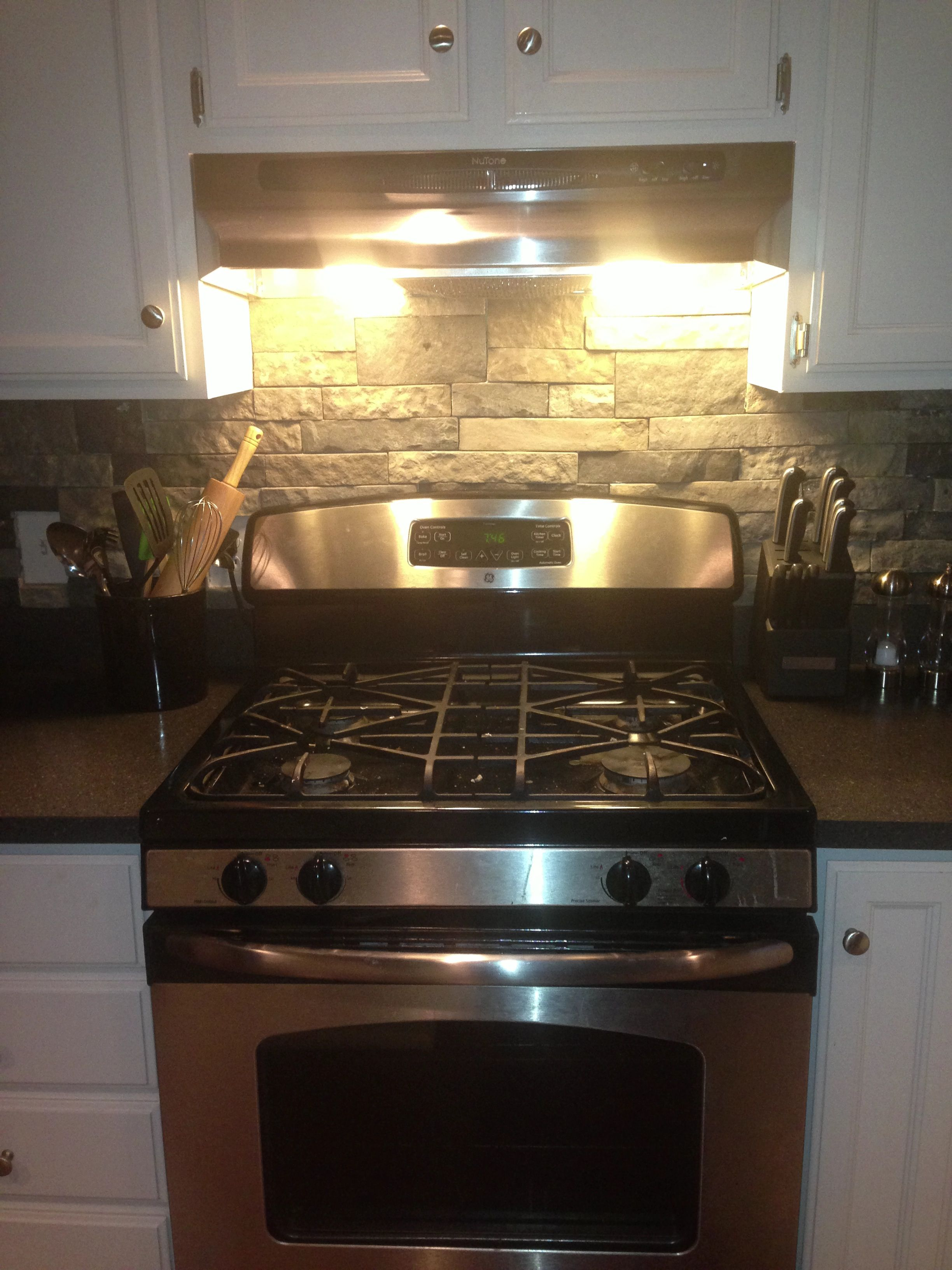 air stone DIY backsplash from lowes in 2019 | Kitchen ...