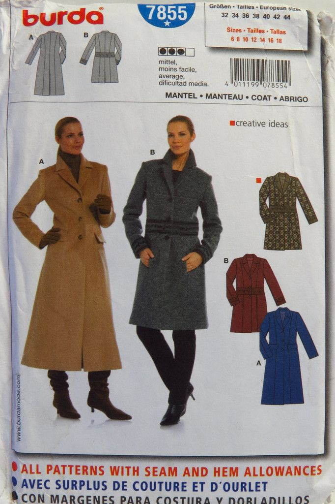 Burda 7855 Misses\' Coat | Wardrobe | Pinterest