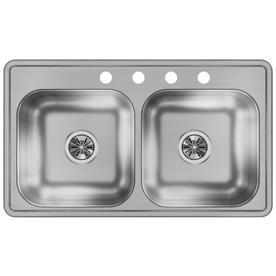 Dayton 33-In X 19-In Stainless Steel Double-Basin Drop-In 4 ... on 19 x 19 undermount sink, 33 stainless sinks, 22 x 33 kitchen sinks,