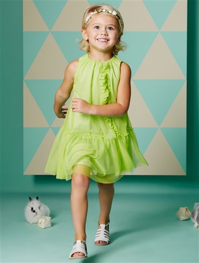 Mädchenkleid aus Baumwoll-Satin anisgrün #vertbaudet # ...