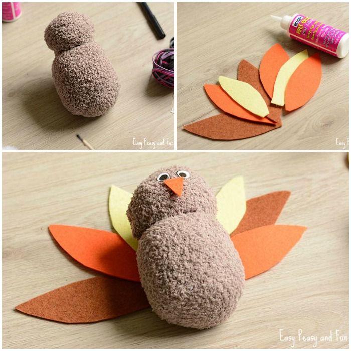 No-Sew Sock Turkey Craft