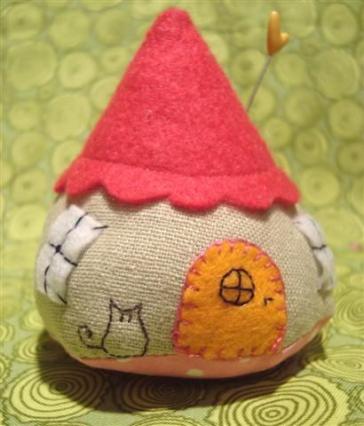 Fabric house pin cushion