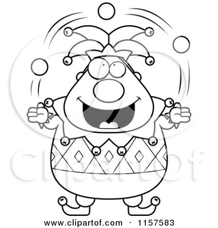 1157583-Cartoon-Clipart-Of-A-Black-And-White-Pudgy-Jester-Juggling ...