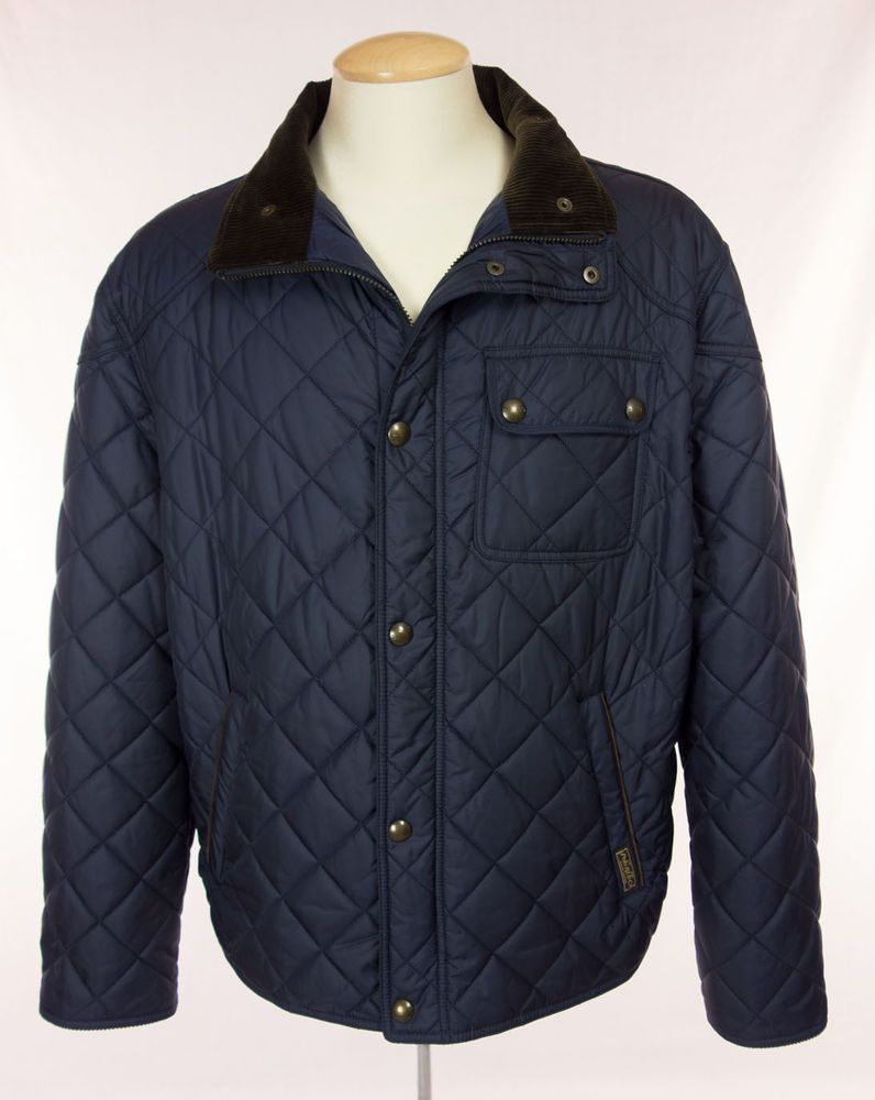 POLO RALPH LAUREN Mens Quilted Barn Jacket Size XXL 2XL Navy Brown ... : mens quilted barn jacket - Adamdwight.com