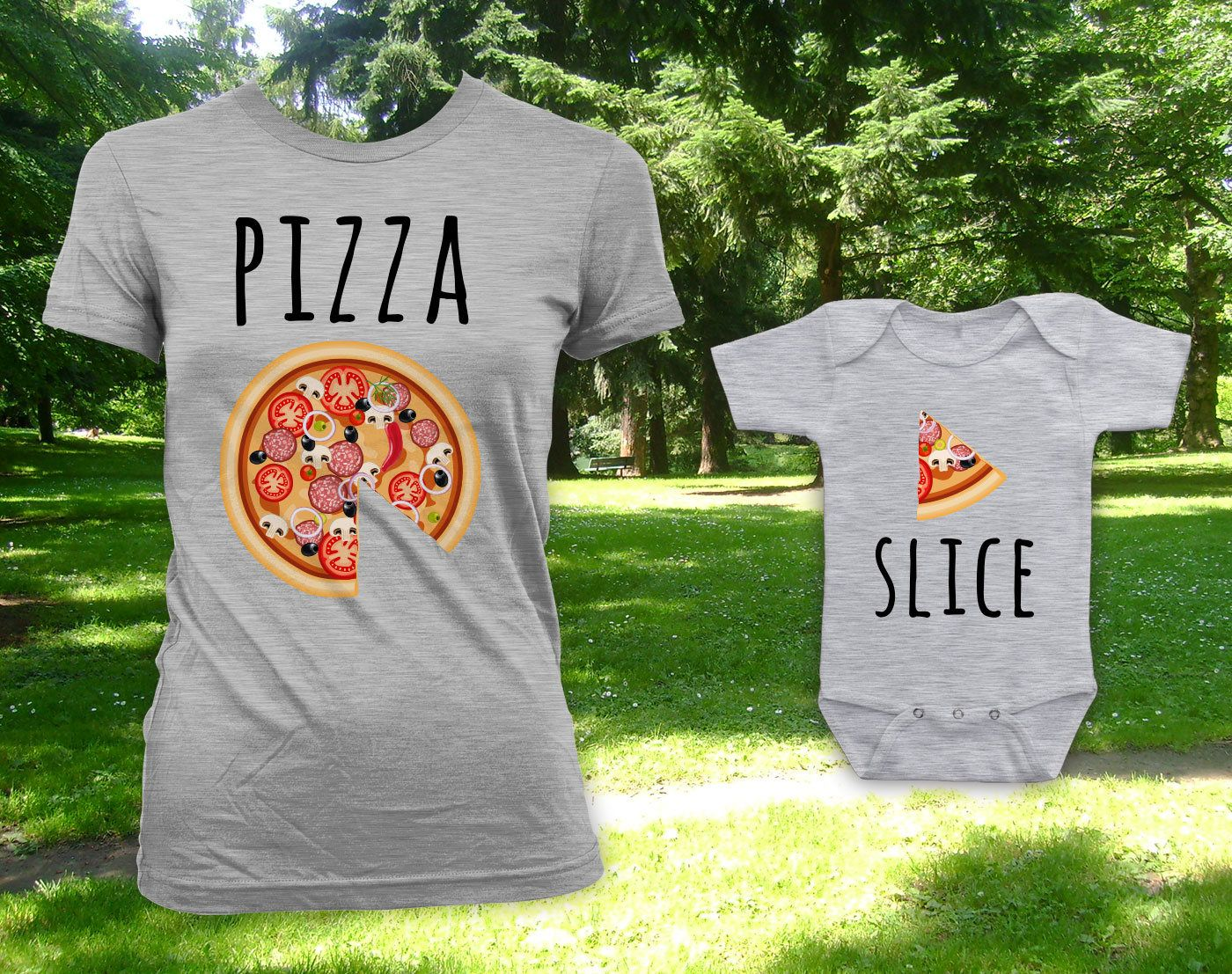 7657d9e65 Pizza - Slice father son daughter matching shirts, father's day gift, gift  for dad, matching t-shirts, etsy tshirt, bodysuit - CCB-619-620 by ...
