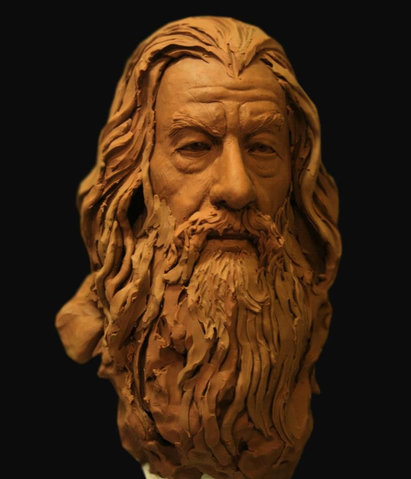 Gandalf clay bust portrait arts pinterest