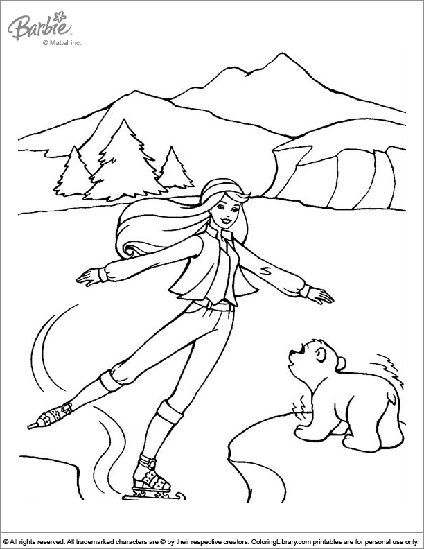 barbie ice skating coloring pages - photo#3