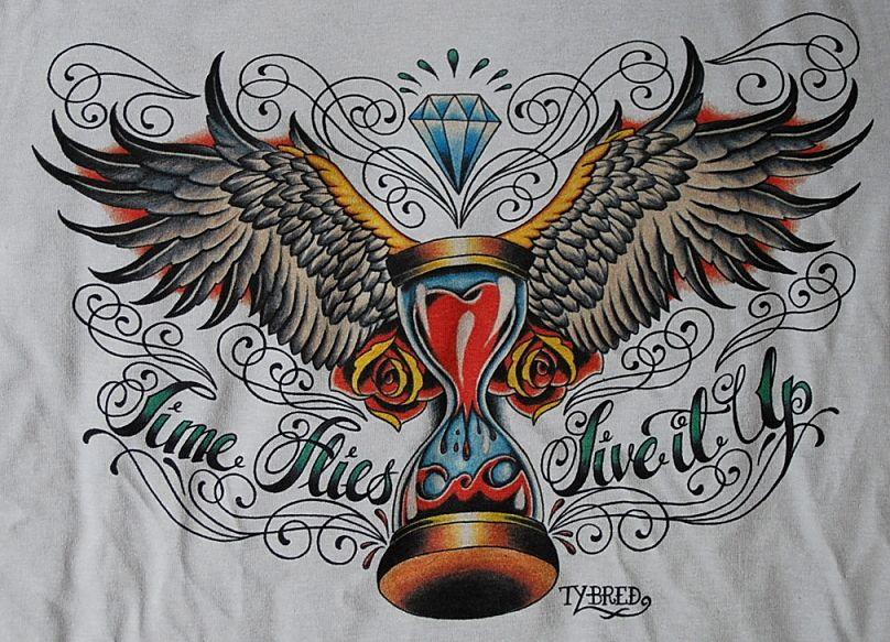 Sanduhr tattoo  Time Flies Sanduhr Eieruhr TATTOO SHIRT Flash Oldschool | Tattoo ...